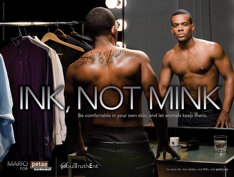 Mario Ink Not Mink Anti Fur PETA Ad